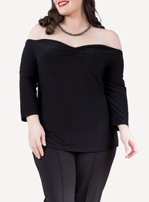 EMILY Black Kayla Rouched Off Shoulder Top
