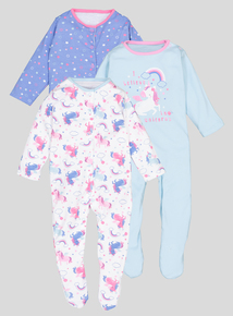 Multicoloured Unicorn Sleepsuits 3 Pack (Newborn-24 Months)