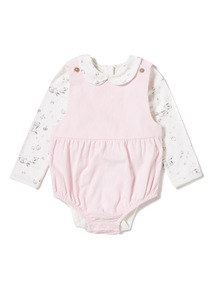 Pink Corduroy Bibshort And Bodysuit Set With Tights (0-12 months)