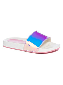 Multicoloured Iridescent Strap Pool Sliders