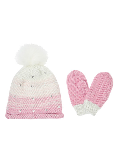 Purple Ombre Diamante Hat and Glove Set (2-12 years)