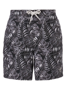Black Leaf Patterned Board Shorts