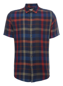 Multicoloured Checked Linen Shirt