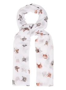 Multicoloured Cat Print Scarf