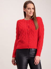 Red Cable Knit Cropped Cardigan