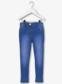 Bright Blue Washed Denim High Waisted Skinny Jeans (3-14 year