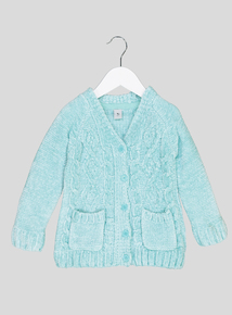 Green Chenille Cable Knit Cardigan (9 Months - 6 Years)