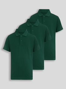 Unisex Green Polo Shirts 3 Pack (3-12 years)