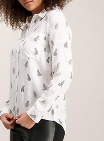 Cream Cat Print Shirt
