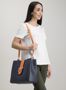 Navy & Orange Shoulder Bag