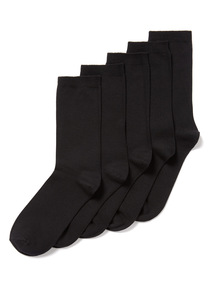 5 Pack Black Cotton Modal Socks