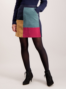 Multicoloured Patchwork Cord Mid-Length Skirt