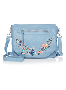 Floral Embroidered Washed Cross Body Bag