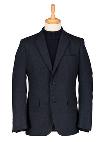 Navy Herringbone Tailored Fit Blazer