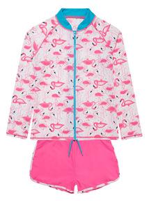 Multicoloured Flamingo Jacket And Shorts Set (3 - 12 years)
