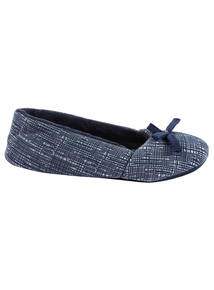 Navy Scribble Ballerina Slipper