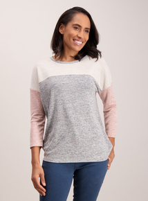 Multicoloured Panel Block Knit-Look Top