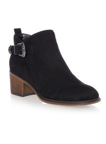 Block Heel Buckle Ankle Boot