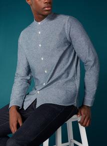 Premium Blue Chambray Grandad Shirt