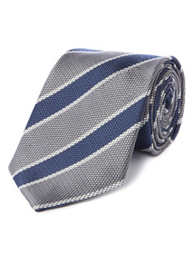 Navy and Silver Club Stripe Tie