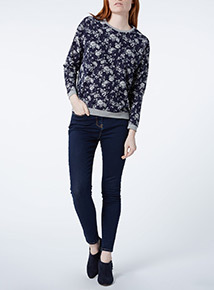 Blue Floral Print Sweater