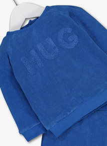 Blue 'Hug' Slogan Terry Cloth Jogger Set (0-24 Months)