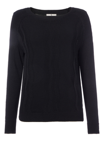 Black Pointelle Knit Jumper
