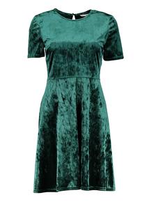 Green Velvet Skater Dress