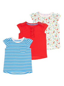 Girls Multicoloured Sleeveless Tops 3 Pack (0-24 months)