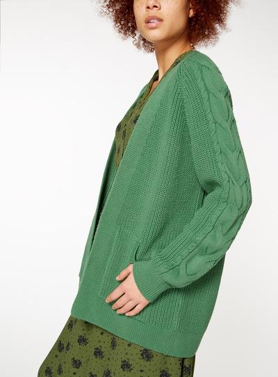 Bottle Green Kangaroo Pocket Knitted Cardigan