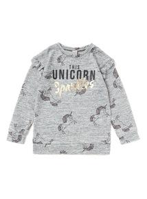 Grey Unicorn Lounge Snit Top (3 - 14 years)