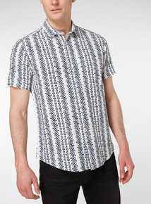 White Geometric Print Regular Fit Linen Rich Shirt