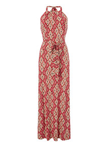 Tile Print Halter Neck Maxi Dress