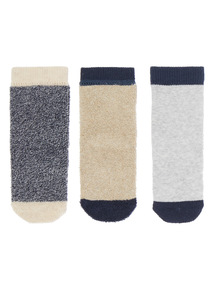 Boys Grey Marl Terry Socks 3 Pack (0-24 months)