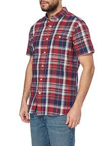 Navy Linen Check Shirt