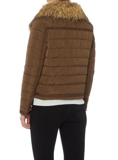 Womens Brown Fur Collar Puffa Jacket | Tu clothing