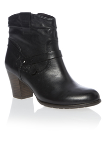 Black Heeled Leather Western Boots