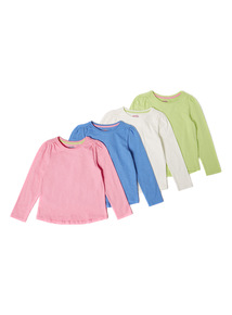 4 Pack Multicoloured Plain Long Sleeve Tops (9 months-6 years)