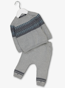 Grey Knitted Jumper & Joggers Set (0-24 Months)