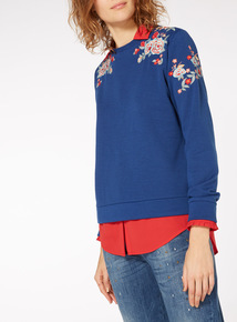 Floral Embroidered Shoulder Sweat