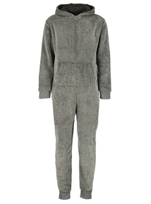 Online Exclusive Grey Fleece All In One