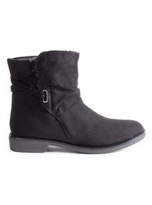 Black Plait Strap Ankle Boot