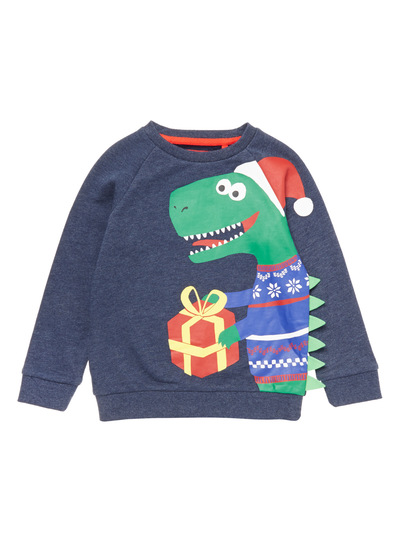 Navy Christmas Dino Sweater (9 months - 5 years)