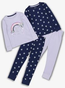 Navy Long-Sleeved Pyjamas 2 Pack (1.5 - 12 Years)