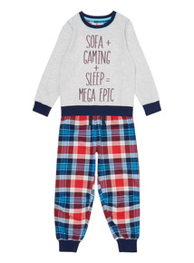 Kids Grey Slogan Pyjamas (3 - 12 years)