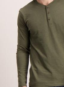 Khaki Grandad Long Sleeve Top