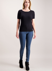 Black Ribbed Knitted T-Shirt