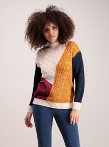 Multicoloured Cable Knitted Patchwork Jumper