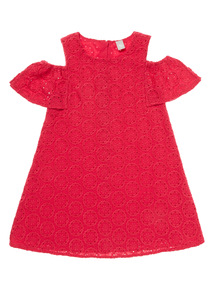 Pink Embroidered Cold Shoulder Dress (3 - 12 years)