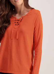 Orange Lace Tie Front Long Sleeve Top